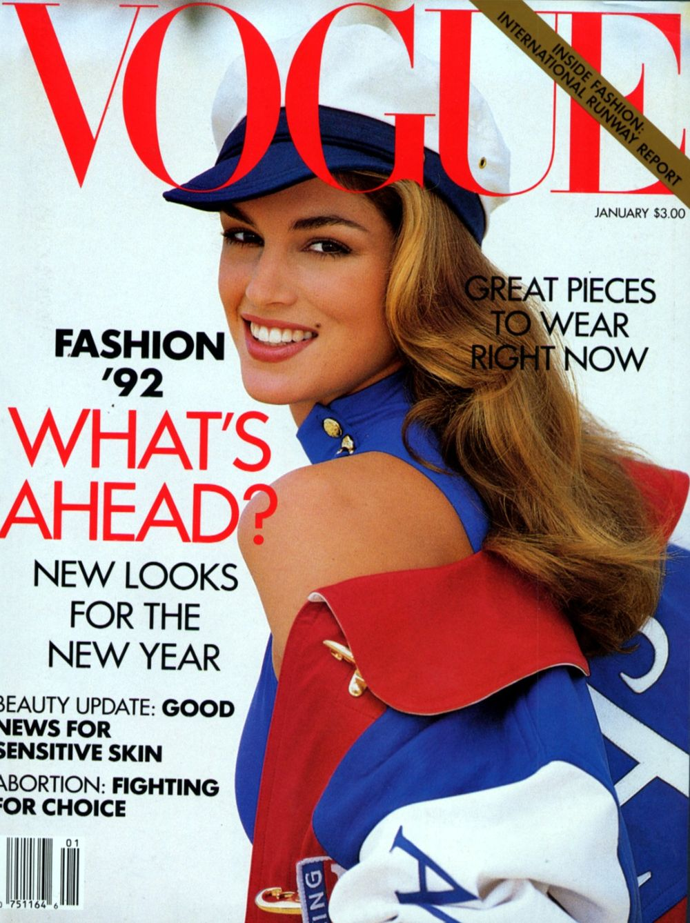 Vogue Usa Magazine Subscription: Covers Of Vogue USA With Cindy Crawford, 000 1992